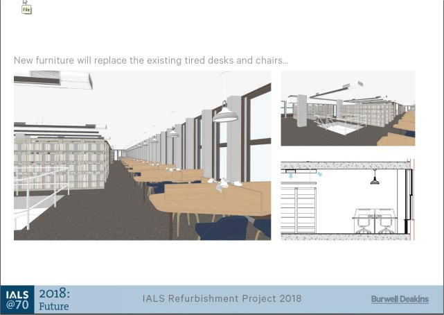 IALS refurbishment project - View of 3rd floor Library Reading Room design