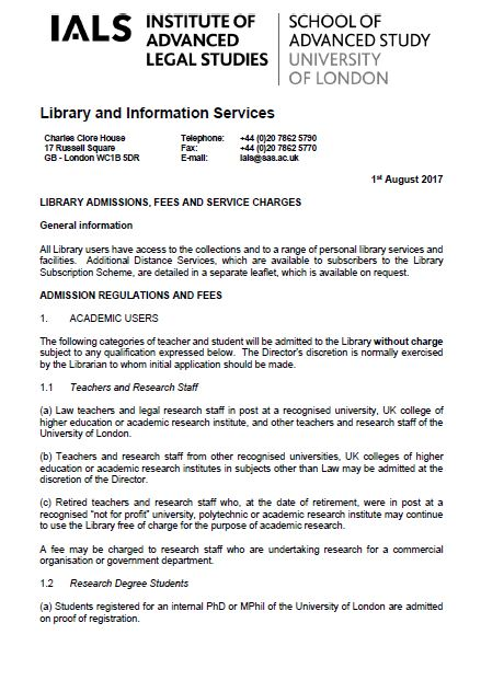 Library admissions charges 2016 cover