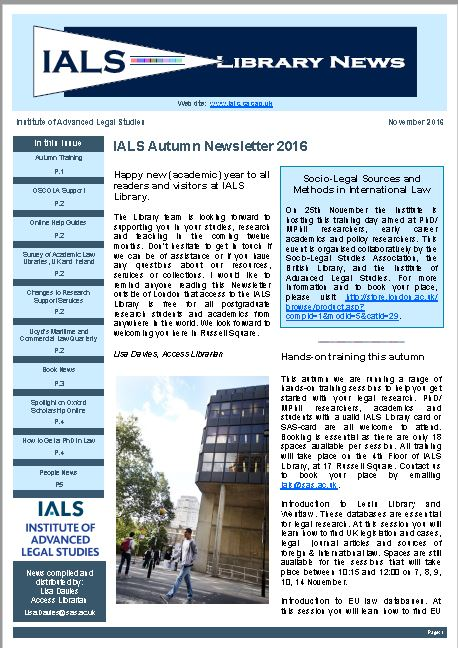 Picture of front page of autumn 2016 library newsletter