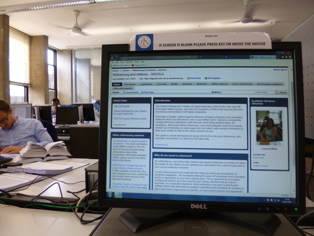 IALS Library OSCOLA guide on screen