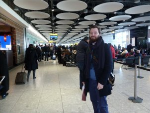 Adam Woellhaf at the Airport for IALS Roadshow Aberdeen University