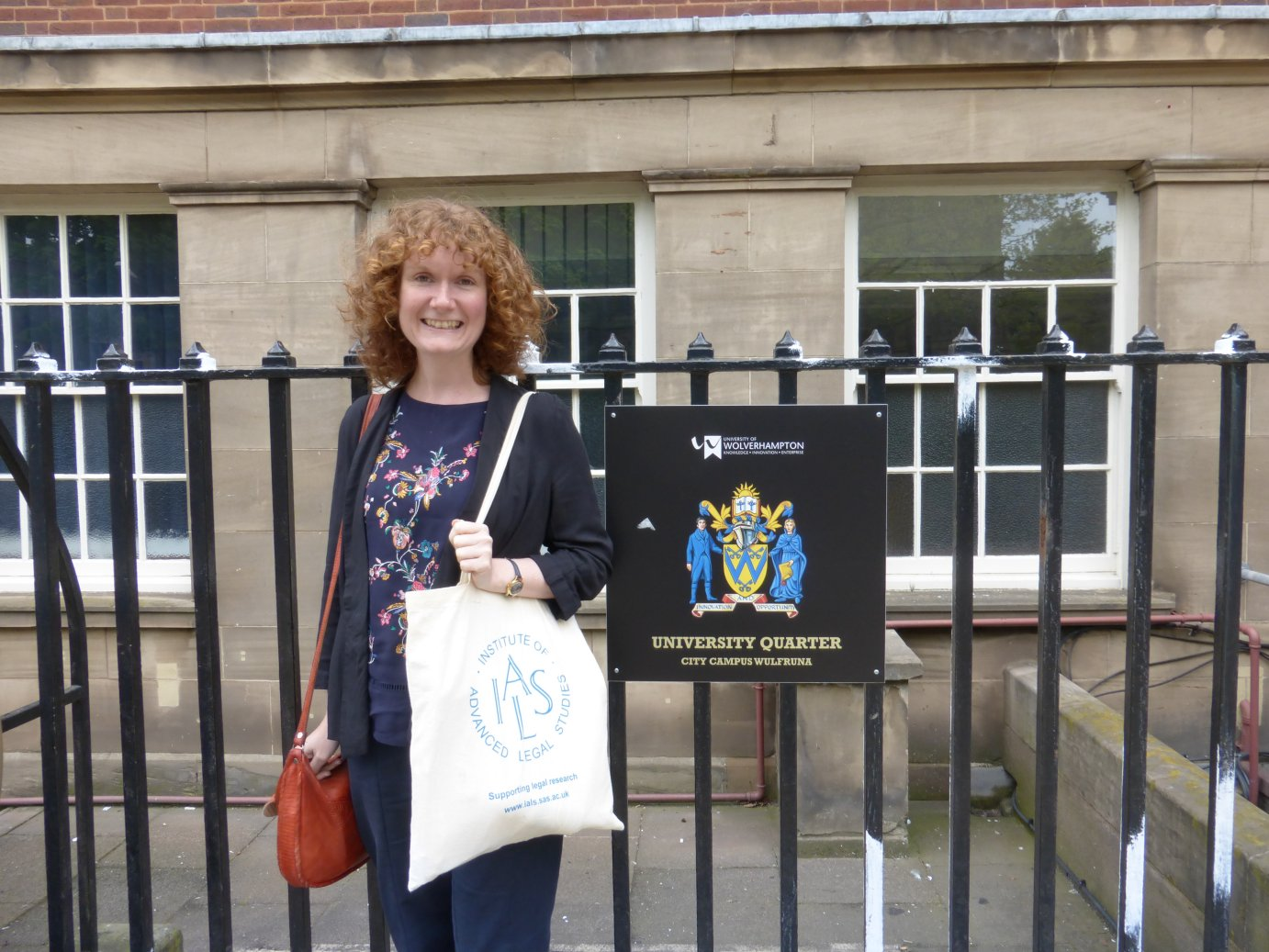 Lisa Davies arriving for the IALS Road Show at Wolverhampton University 2016