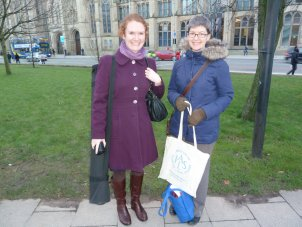 Lisa Davies and Hester Swift arriving for IALS Road Show University of Manchester