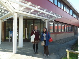 Lisa Davies and Laura Griffiths arriving for IALS Road Show Swansea 2014