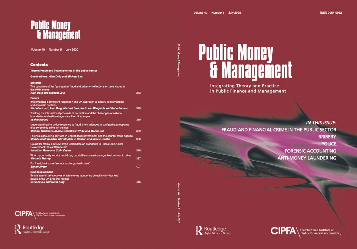 Photograph of front and back covers of Public Money and Management