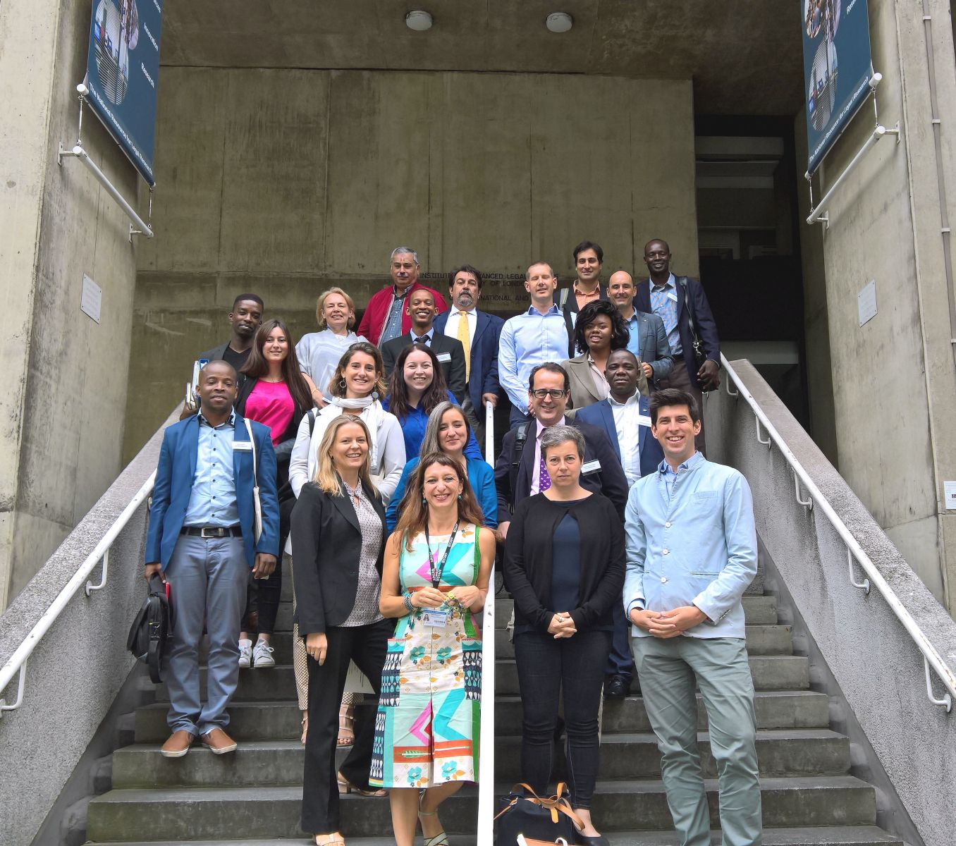 Picture of attendees, speakers and organisers of the 4th Urban Law Day on the steps outside the Institute of Advanced Legal Studies