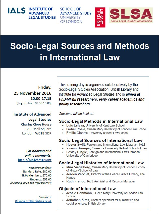 Socio-Legal Sources and Methods 2016 poster