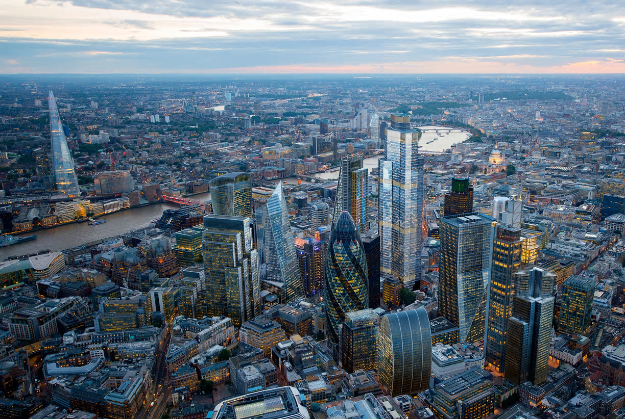 View of City of London from the air