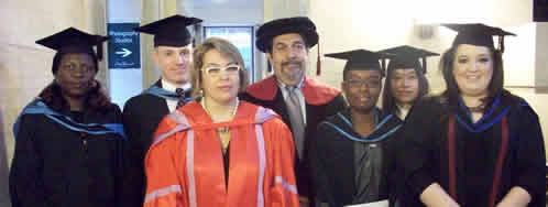 Picture of Professor Helen Xanthaki with students at University of London Graduation ceremony